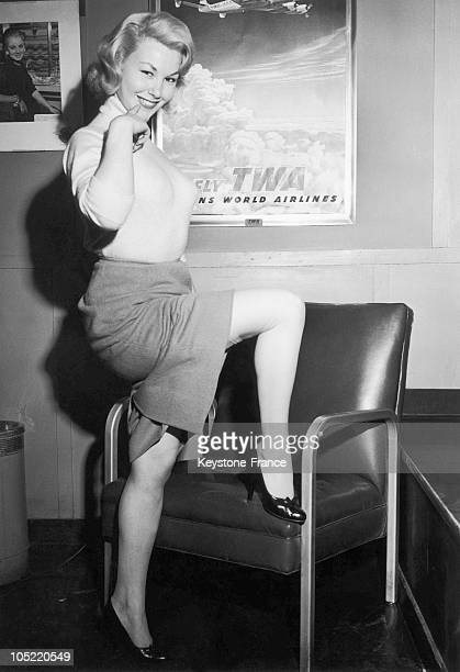 The Actress Nadine Tallier Upon Her Arrival In The United States Around 1956-1957.