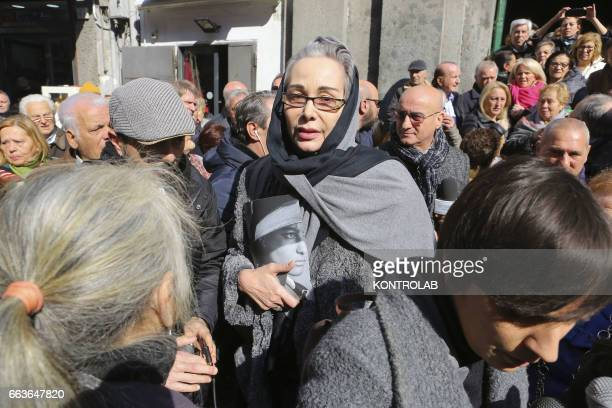The actress Ottavia Fusco during a moment of the funeral director screenwriter and political Pasquale Squitieri at the Church of the Virgin in the...