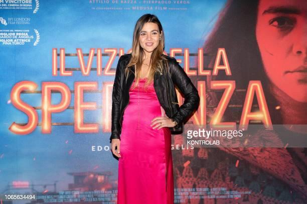 The actress Pina Turco at the presentation of the drama 'Il vizio della speranza' directed by Edoardo De Angelis at the Duel Village in Caserta...