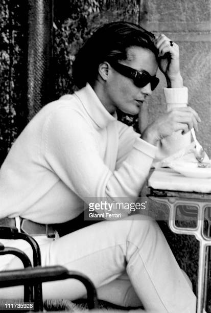 The actress Romy Schneider during a break from the filming of the movie '10 20 PM Summer ' directed by Jules Dassin in Turegano 1965 Segovia Spain