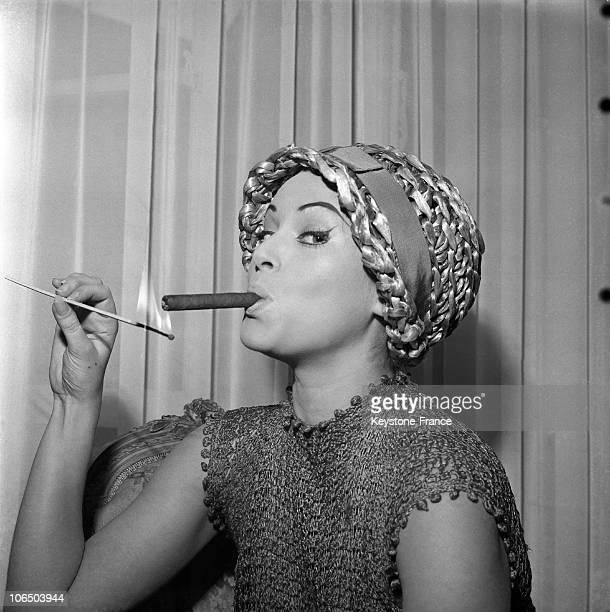 The Actress Smoking One Of Her Favourite Cigars. Paris.