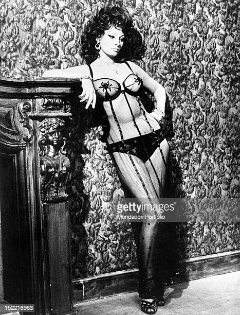 The actress Sophia Loren stars as a prostitute in a brothel in a scene from the movie 'Marriage Italian Style' 1964