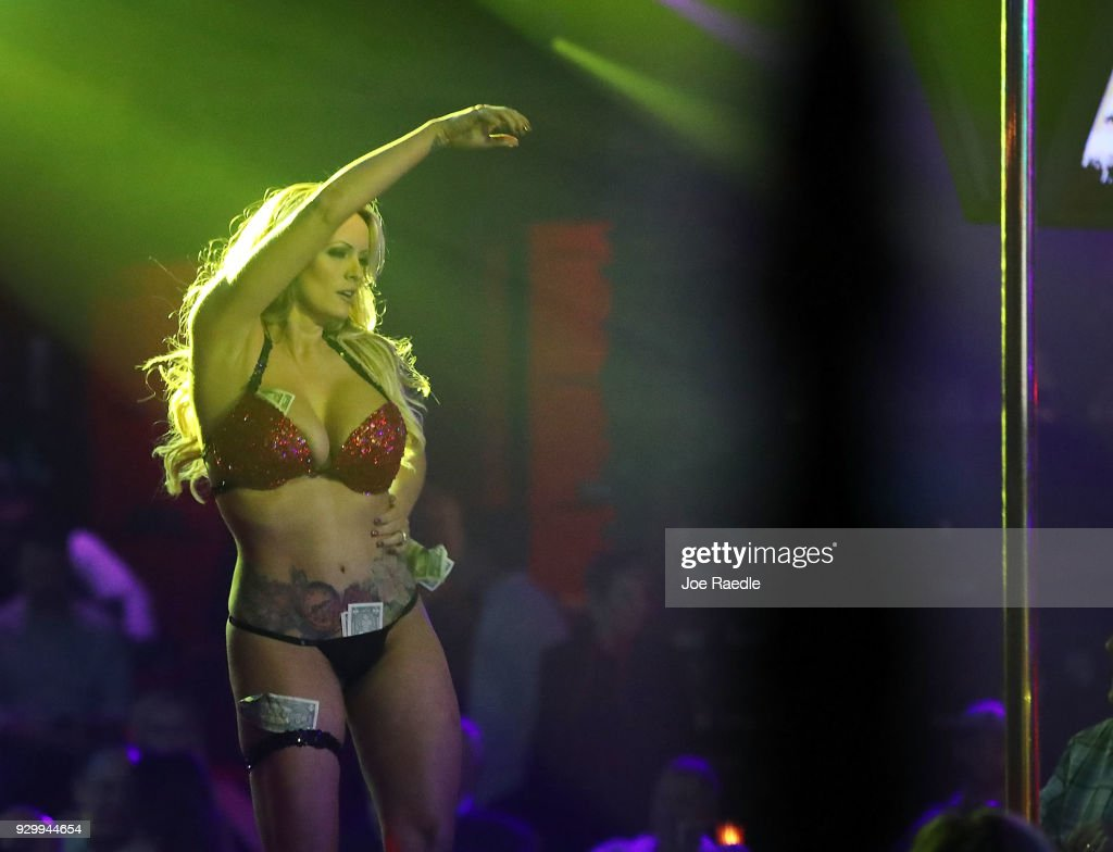The actress Stephanie Clifford, who uses the stage name Stormy Daniels, performs at the Solid Gold Fort Lauderdale strip club on March 9, 2018 in Pompano Beach, Florida. Stephanie Clifford who claims to have had an affair with President Trump has filed a suit against him in an attempt to nullify a nondisclosure deal with Trump attorney Michael Cohen days before Trump's 2016 presidential victory.