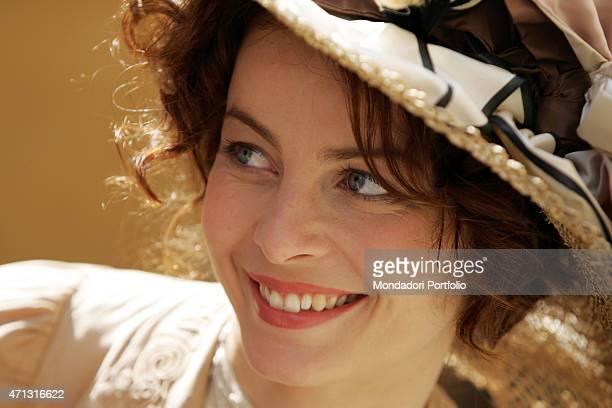 The actress Violante Placido posing on the set of the TV miniseries Il furto della Gioconda Saluzzo Italy 20th May 2005
