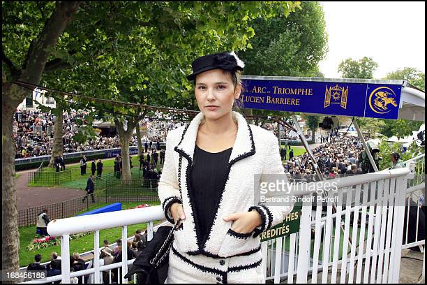 The actress Virginie Ledoyen, godmother of the 85th race of the Arc De Triomphe 2006 at the Longchamp racecourse.