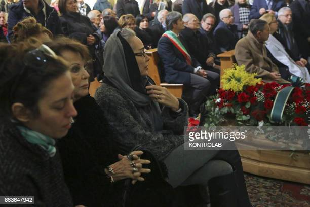 The actresses Claudia Cardinale and Ottavia Fusco during a moment of the funeral director, screenwriter and political Pasquale Squitieri at the...