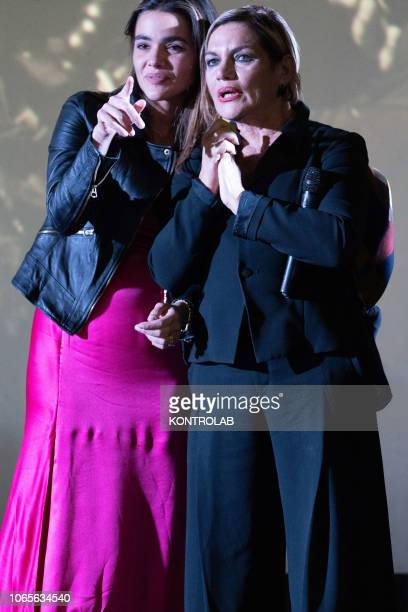 The actresses Pina Turco and Cristina Donadio at the presentation of the drama 'Il vizio della speranza' directed by Edoardo De Angelis at the Duel...