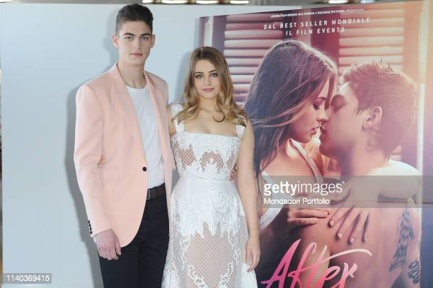 The actrors Josephine Langford and Hero Fiennes Tiffin attends at the photocall of the film After at the Hotel Palazzo Naiadi Rome March 31th 2019