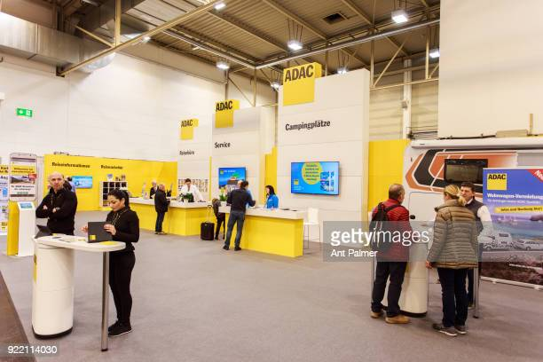 The ADAC information stand at the Reise Camping Exhibition on February 21 2018 in Essen Germany The annual event features over 1000 exhibitors from...