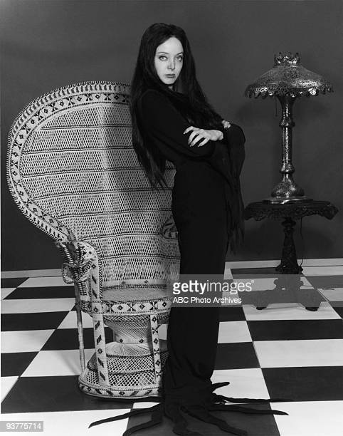 "The Addams Family - ""Carolyn Jones Gallery"" Season 1., Morticia Stands with arms crossed looking torwards viewer.,"