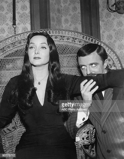 "The Addams Family - ""Cousin Itt and the Voc. Counselor""- Season One. Gomez Kisses up Morticia's arm as she sits in a large wicker chair., gazing into..."