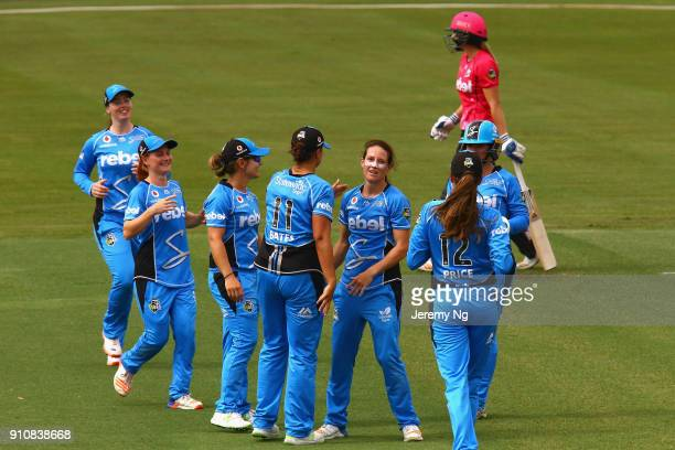 The Adelaide Strikers celebrate a wicket during the Women's Big Bash League match between the Adelaide Strikers and the Sydney Sixers at Hurstville...