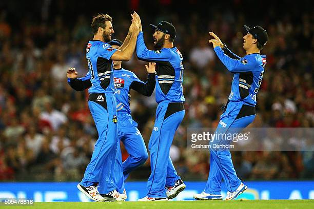 The Adelaide Strikers celebrate the dismissal of Tom Cooper of the Renegades during the Big Bash League match between the Melbourne Renegades and the...