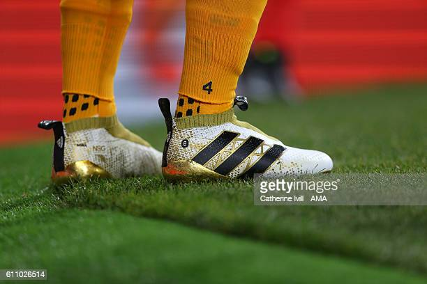 The adidas ACE 16 boots of Mesut Ozil of Arsenal during the UEFA Champions League match between Arsenal FC and FC Basel 1893 at Emirates Stadium on...