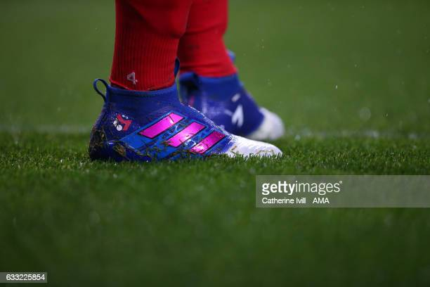 The Adidas Ace 17 Purecontrol boots of Mesut Ozil of Arsenal during the Premier League match between Arsenal and Watford at Emirates Stadium on...