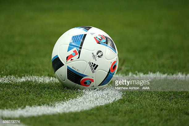 The adidas 'Beau Jeu' matchball is seen during the UEFA EURO 2016 Group A match between France and Romania at Stade de France on June 10 2016 in...