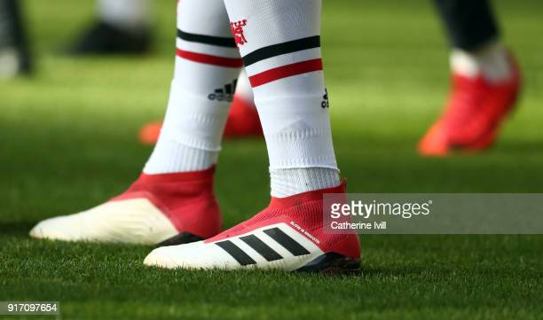 The Adidas boots of Paul Pogba of Manchester United during the Premier League match between Newcastle United and Manchester United at St James Park...