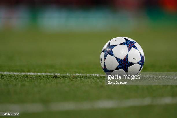 The adidas Champions League ball is pictured during the UEFA Champions League Round of 16 second leg match between Arsenal FC and FC Bayern Muenchen...