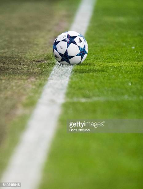 The adidas Champions League ball lies on the pitch during the UEFA Champions League Round of 16 first leg match between FC Bayern Muenchen and...