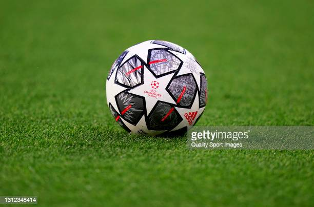 The Adidas Finale Istanbul 21 ball on the pitch prior to the UEFA Champions League Quarter Final Second Leg match between Chelsea FC and FC Porto at...