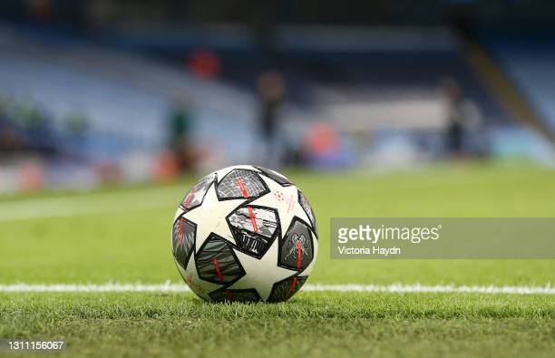 The Adidas Finale match ball is seen on the pitch during the UEFA Champions League Quarter Final match between Manchester City and Borussia Dortmund...