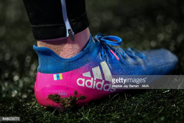 The Adidas football boots of Ayoze Perez of Newcastle United during the Sky Bet Championship match between Huddersfield Town and Newcastle United at...