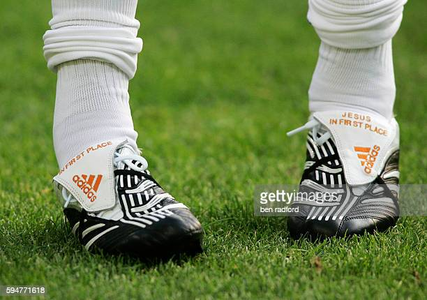 The Adidas football boots of Kaka of Brazil with the words Jesus in first place stitched into the tongue during the international friendly match...