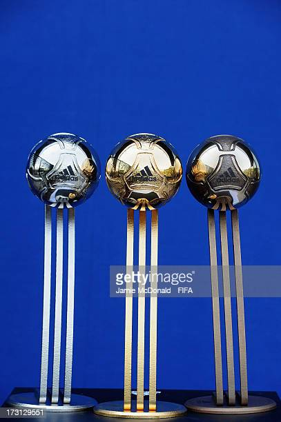 The Adidas Gold Silver and Bronze Ball awards for the FIFA U20 World Cup are pictured at the Ritz Carlton on July 8 2013 in Istanbul Turkey