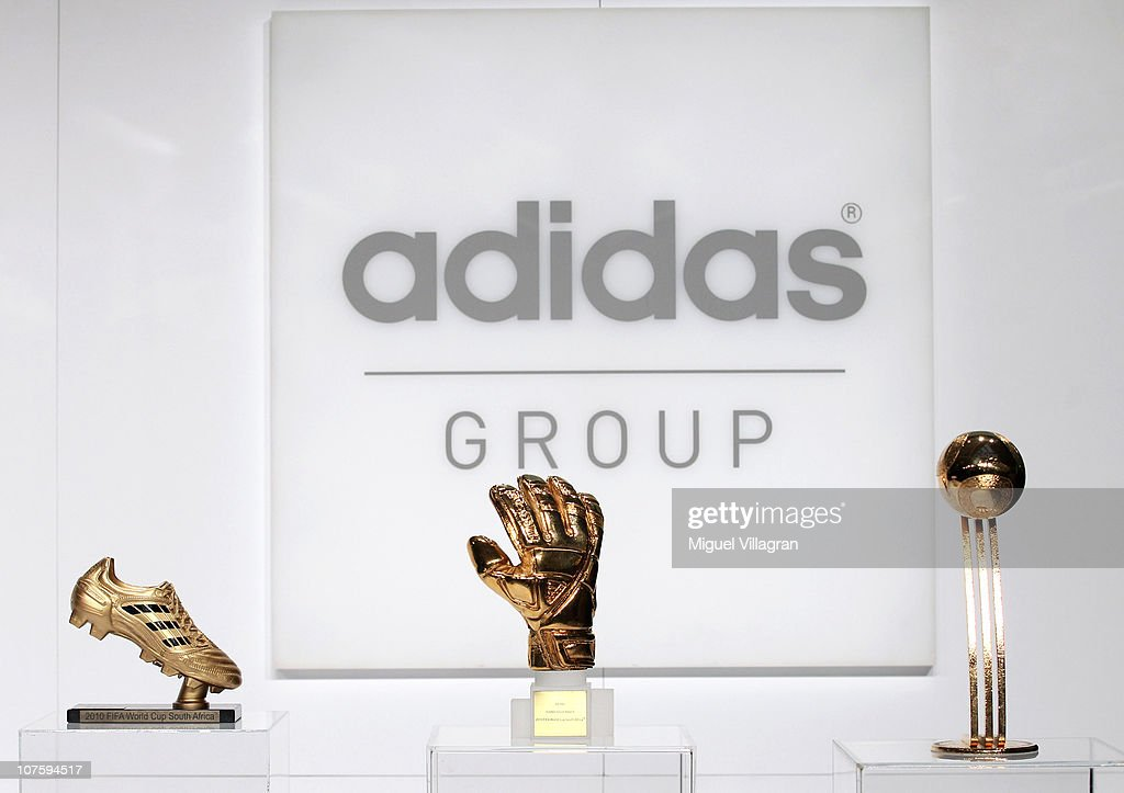The adidas Golden Boot, the adidas Golden Glove and the adidas Golden Ball are pictured during the FIFA 2010 World Cup adidas Golden Award ceremony at the adidas headquarters on December 14, 2010 in Herzogenaurach, Germany.
