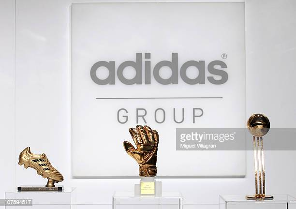 The adidas Golden Boot the adidas Golden Glove and the adidas Golden Ball are pictured during the FIFA 2010 World Cup adidas Golden Award ceremony at...
