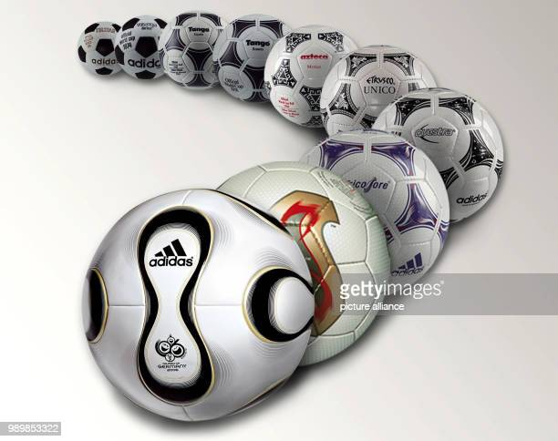 The adidas handout from December 9th 2005 is presenting the adidas world cup footballs From the front Teamgeist Fevernova Tricolore Questra Etrusco...