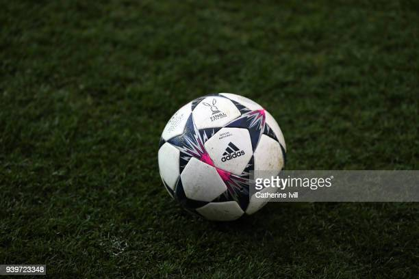 The Adidas match ball during the UEFA Womens Champions League QuarterFinal Second Leg between Chelsea Ladies and Montpellier at The Cherry Red...