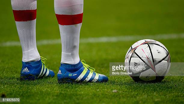 The adidas matchball is pictured during the UEFA Champions League quarter final first leg match between FC Bayern Muenchen and SL Benfica at Allianz...