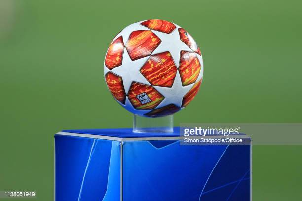 The Adidas matchball sits on its plinth ahead of the UEFA Champions League Quarter Final second leg match between FC Barcelona and Manchester United...