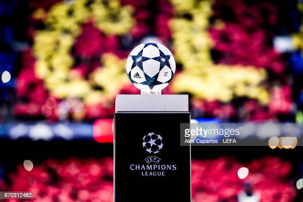 The Adidas official match ball stays in the plynth before the UEFA Champions League Quarter Final second leg match between FC Barcelona and Juventus...