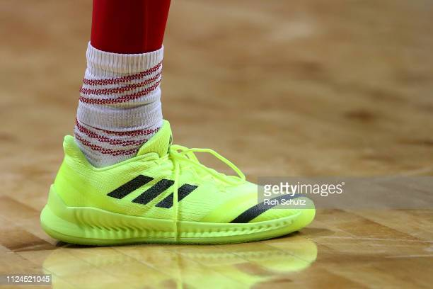 The Adidas shoe of James Palmer Jr #0 of the Nebraska Cornhuskers in action against the Rutgers Scarlet Knights during a game at Rutgers Athletic...