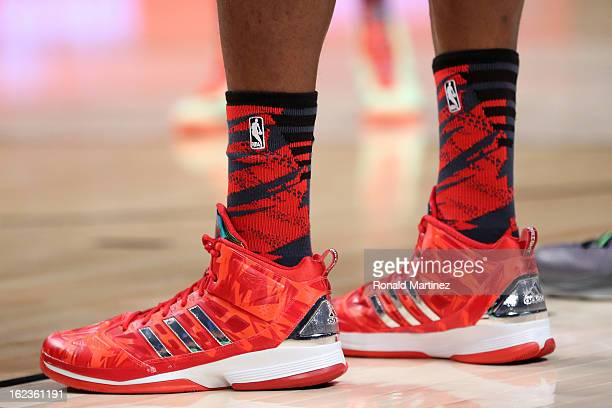 The adidas shoes worn by Dwight Howard of the Los Angeles Lakers and the Western Conference are seen during the 2013 NBA AllStar game at the Toyota...