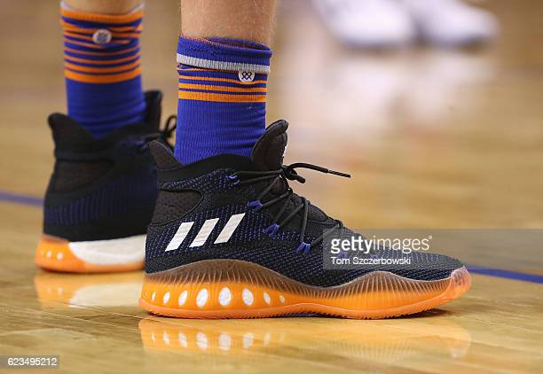 The Adidas shoes worn by Kristaps Porzingis of the New York Knicks during NBA game action against the Toronto Raptors at Air Canada Centre on...