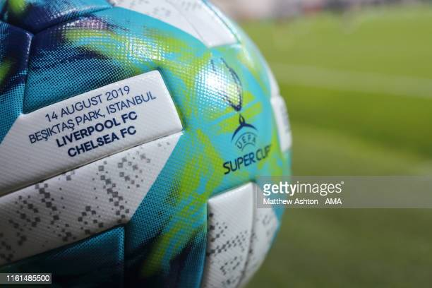 The Adidas Super Cup match ball commemorating the event during the Liverpool training session ahead of the UEFA Super Cup Final between Liverpool and...