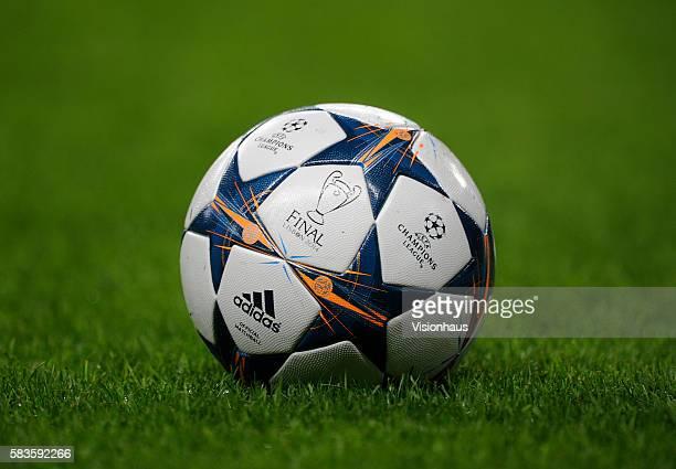 The adidas UEFA Champions League Final match ball before the UEFA Champions League Round of 16 First Leg match between Manchester City and FC...