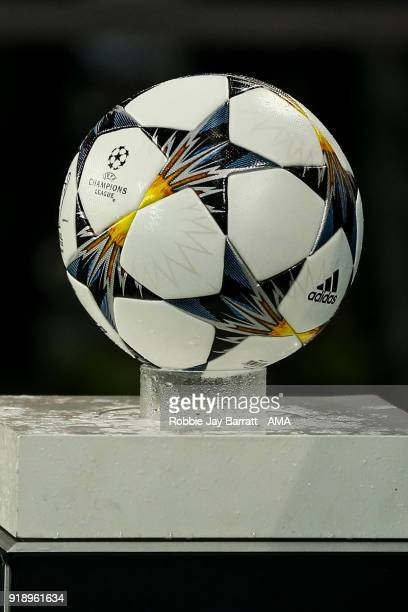 The Adidas UEFA Champions League road to Kiev match ball is seen on a plinth during the UEFA Champions League Round of 16 First Leg match between FC...
