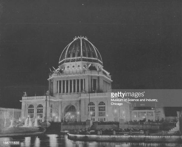 The Administration Building Illuminated at night at the World's Columbian Exposition in Chicago Illinois 1893 This image was published in 'The Dream...