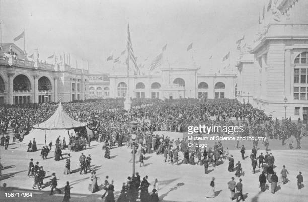 The Administration Plaza during the parade on Chicago Day October 9 at the World's Columbian Exposition in Chicago Illinois This image was published...
