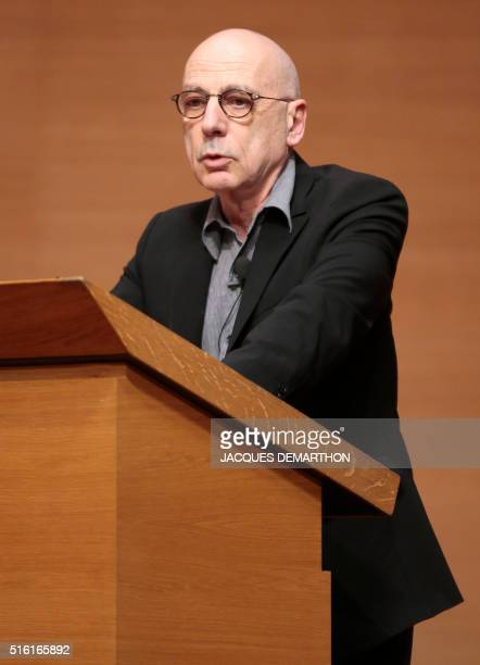 The administrator of the College de France Alain Prochiantz speaks on March 17 2016 at the College de France in Paris during Congolese author Alain...