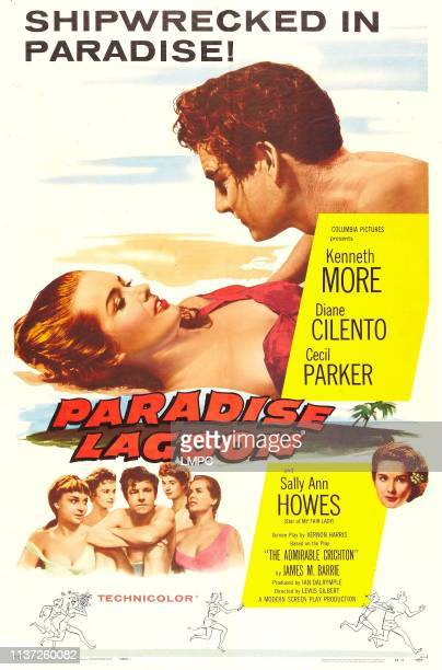 The Admirable Crichton poster aka PARADISE LAGOON US poster art fropm left Diane Cilento Kenneth Moore 1957