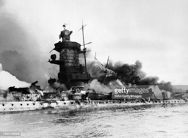 The Admiral Graf Spee In Flames Off Montevideo 17 December 1939 In The River Plate Estuary Off Montevideo Uruguay The German pocket battleship...