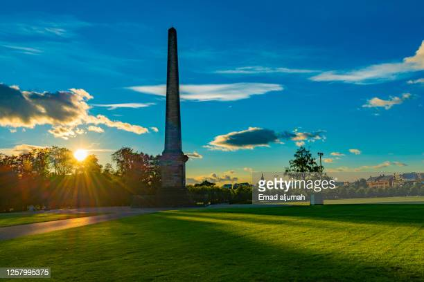 the admiral nelson obelisk monument, golden hour in glasgow green, scotland (uk) - old glasgow stock pictures, royalty-free photos & images