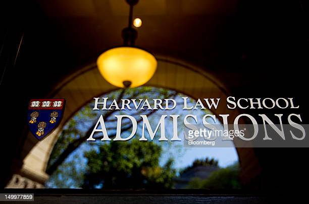 The admissions office for Harvard University Law School stands in Cambridge Massachusetts US on Monday Aug 6 2012 Harvard University an American...