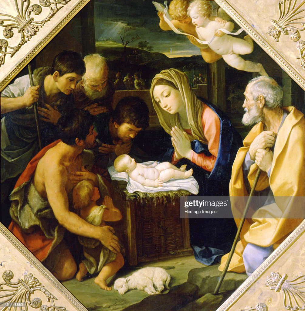 'The Adoration of the Christ Child', c1640. Artist: Guido Reni : News Photo