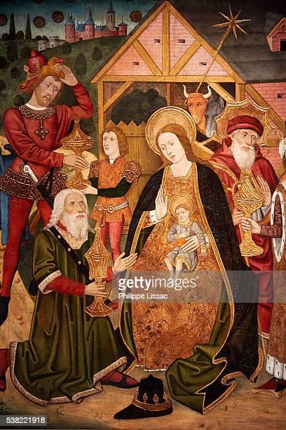 The Adoration of the Magi, by Master van de Prelaat Mur (near 1450). Ghent fine art museum